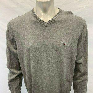 Tommy Hilfiger V Neck Sweater Men's Large Gray